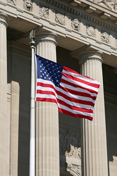 United States Flag flying in Washington DC
